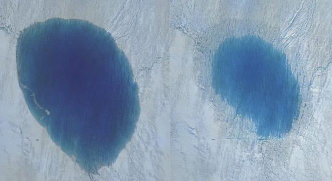 Les deux-tiers du lac englouti au Groenland, avant et après.