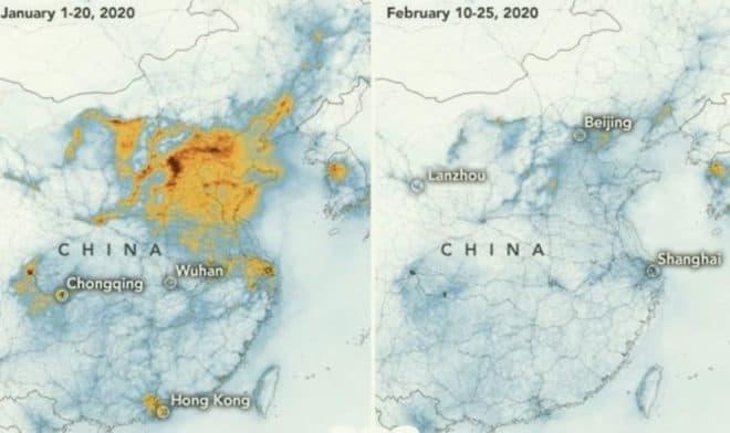 La pollution atmosphérique en Chine depuis la propagation du coronavirus.