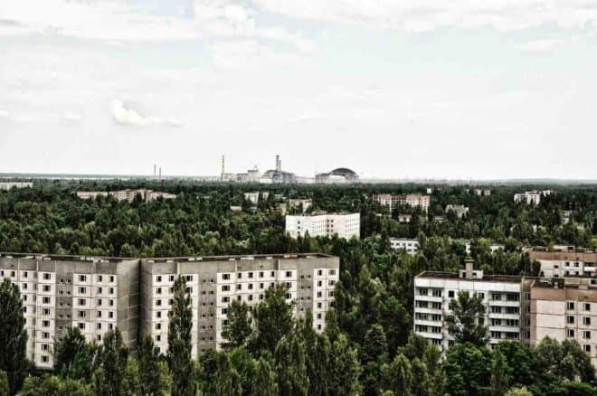 Les environs du site nucléaire de Tchernobyl.