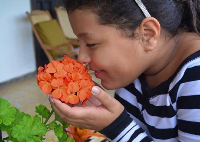 Une personne sentant des fleurs